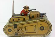 Vintage Marx Pressed Tin Litho Wwi Tank Doughboy Pop-up Wind Toy Works-pats Pend