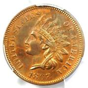 1867 Indian Cent Penny 1c - Pcgs Uncirculated Details Unc Ms - Rare Key Date