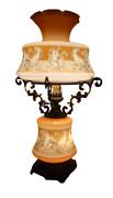 Huge Stained Opaline Glass Table Lamp Italy Neoclassical Mid Century Cupido S