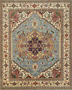 Tribal Heriz Serapi Rug 12and039x15and039 Blue/ivory Hand-knotted Wool Pile