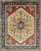 Tribal Heriz Serapi Rug 12and039x15and039 Ivory/blue Hand-knotted Wool Pile