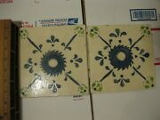 2 Rare White Clay Hand Made And Painted Terra Cotta Salvaged Blue Green Tiles
