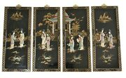 Vintage Japanese Shibayama Carved Relief Wall Panels 4 Black Wood Lacquer 24