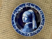 Porceleyne Fles Blue And White Delft Charger Hand Painted Girl W/pearl Earring