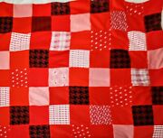 Vintage Antique Hand Pieced Hand Quilted Red White Black Baby Quilt Farmhouse