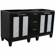 Trento 60 Modern Double Solid Wood Vanity In Blue Cabinet Only