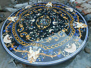 42 Round Dining Black Marble Table Top Lapis Mosaic Marquetry Inlay Malachite