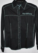 Cowgirl Tuff Xl/plus Size Western Shirt Black With Teal Stitching And Embroidery