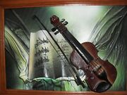 Decors G Mand039s Musical Leather Sculptural Painting Signed Decors G M