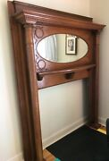 Vintage Hand Carved Oak-fluted Fireplace Mantel With 2 Columns Shelf And Mirror