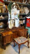 Gorgeous Rare Antique Burl Wood Serpentine Vanity Table W Mirror And Bench Italy