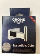 Brand New Grohe Essentials Cube Robe Or Towel Hook Starlight Chrome 40511001