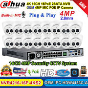 Dahua Cctv System 4k 16ch Nvr 4mp Dome Mic Ir Ip Camera Oem Ipc-hdw4433c-a Lot