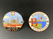 Vintage Pair Of Car Grill Badges Metal Collectible Austria's Scenes Used