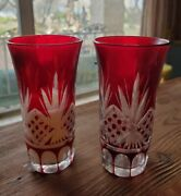 2 Vintage Ruby Red Cut Clear Glass 4 Small Vases Vase Bohemian Czech Cocktail