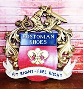 Antique Vintage C/1930-40and039s Bostonian Shoes Clothing Display Advertising Sign Ex