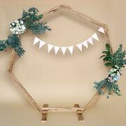 7 Feet Natural Wood Backdrop Stand Wedding Arch Heptagon Shape Party Supplies