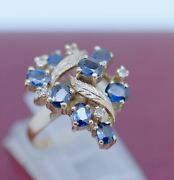 Vintage Antique Jewelry Gold Ring Natural Diamonds Blue Sapphires Jewellery