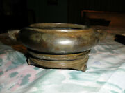 Chinese Ming Early Qing Bronze Censer Incense Burner On Stand Signed