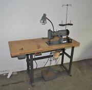 Vintage Singer 107g1 Zig Zag Heavy Duty Industrial Sewing Machine And Table Setup