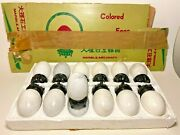 Lot Of 12 Vintage Marble Art Craft Eggs With Stands