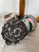 3 Antique Rag Balls Large Handmade Material Fabric Cotton Early Materials