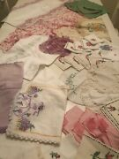 Lot Of 37 Vtg Embroidered Linens Lace Doilies Runners Napkins Pillowcase Pinks