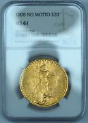 1908 20 Gold St. Gaudens Double Eagle Ms61 Ngc