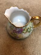 Rare Limoges France Pitkin And Brooks Signed Floral Painted Pitcher 1872-1920andrsquos