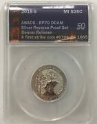 Anacs Rp70 Dcam First Strike 5 1918-s Quarters 1 Dime 705/1865 50 Anniversary
