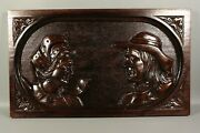 Antique French Hand Carved Wood Salvaged Panel Breton Quimper Couple Pediment
