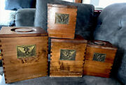 4 Vintage Wooden Nesting Stacking Canisters Eagle Design Farmhouse Decor 1940's