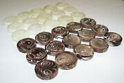 Vintage Crisloid Backgammon Checkers 1 3/4 By 7/16 Brown And White Swirls.