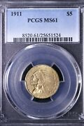 1911 5 Dollar Gold Indian Half Eagle Pcgs Ms61 Free Shipping Afpm 12