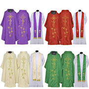 Priest Pastor Chasubles Ihs And Cross Set Of 4 - Vestment And Stole Sets