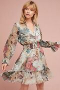 New Anthropologie Hemant And Nandita Floral Smocked Waist Dress Size S