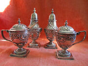 Two Antique19th Century English Sterling Silver Salt Cellar/pepper Shaker Sets