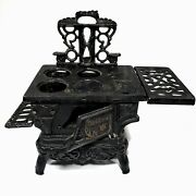 Crescent Child's Toy Black Heavy Large Cast Iron Stove And Parts Salesman Sample