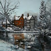Packet House Bridgewater Canal Worsley Manchester Original Art Signed Painting