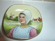 Vintage Continental China 10.7cm Dish With Traditional Dressed Dutch Lady Andwindm