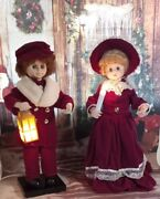 Vintage Telco Animated Christmas Victorian Carolers Boy And Girl Light Up Lot Of 2