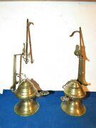 Magical Pair Of Antique Brass Betty Lamps Aladdin Genie Style Whale Oil