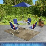 Outdoor Dining Set Patio Backyard With Table 4 Chairs Umbrella Furniture Blue