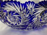 🔵very Rare Lrg Antq German Cobalt Blue Cut To Clear Cradle Oval Crystal Bowl