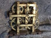 Antique Birge / Mallory. And Co. Brass Clock Movement Parts Repair Cable Driven