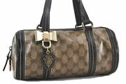 Authentic Gg Crystal Hand Bag Pvc Leather Brown Beige C1603