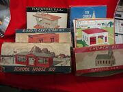 Plasticville - 6 Diff. Vintage Urban/suburban Structures - All Orig. And Complete