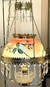 Vintage Painted Hanging Hurricane Lamp Gone With The Wind Swag W 2 Tiers Prisms