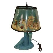 Van Briggle Pottery 1940s Blue Panther Mountain Lion Lamp Shade Walker