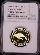1988 Canada 100 Gold Bowhead Whale Ngc Pf70 Ultra Cameo 1/4 Oz. Lm221